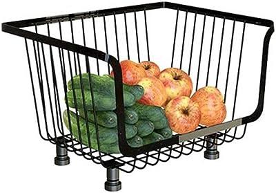 フルーツラックメタルフルーツ野菜収納バスケットスタッカブルフルーツ棚スタンドキッチンバスルームリビングルーム用多機能収納オーガナイザー(1段バスケット)