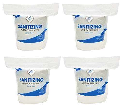 WipesPlus Sanitizing Alcohol Free Bulk Wet Wipes, 4800 CT, 4 (1200 ct) Resealable Refill Bag Mega Rolls for Floor Stand and Wall Dispensers, Gym Wipe Refills, Salons, Schools, Offices