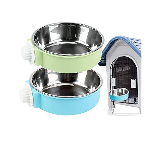 Andiker - Cuenco colgante 2 en 1 extraíble de acero inoxidable para colgar, para cachorro/gato, jaula para mascotas, gran alimentador de alimentos para perros y gatos