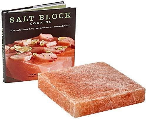 Himalayan Salt Cooking Block and Cook Book Set 20 x 20 x 5 cm Suitable for...