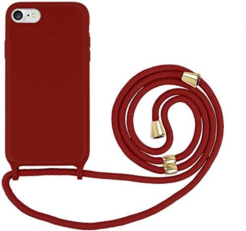 Oihxse Funda con Cuerda Compatible para iPhone SE 2020/iPhone 9 Carcasa de Silicona Líquida Suave con Correa Colgante Ajustable Case Moda Ultra Delgado Antigolpes Protección Cover,A5