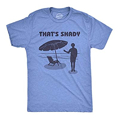 Crazy Dog T-Shirts Mens Thats Shady T Shirt Funny Beach Vacation Sarcastic Hilarious Graphic Tee (Heather Light Blue) - XL