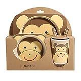 shopwithgreen Kindergeschirr 5-teiliges Sets - Teller| Schüssel, Löffel, Gabel, Tasse| Geeignet für Kinderbesteck ab 6 Monaten, kein BPA,Umweltfreunflich & Gesund