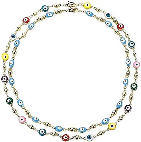 banbeitaotao Collar Collar 2 uds, Collar de Alá con Encanto de Cristal Azul Chapado en Oro para Mujer, joyería Musulmana, Collar de Ojo Azul Turco