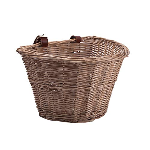 TinaDeer Bicycle Basket, Wicker D-Shaped Extra Large Size Bike Basket, Eco-friendly Portable Hand-Woven Shopping Basket Folk Craftsmans, for Adults Bicycles, Large Capacity (A)
