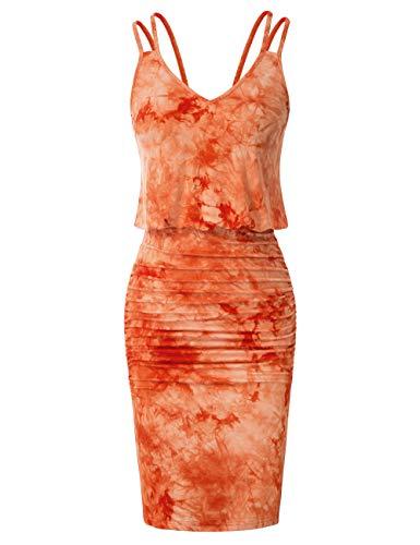 GRACE KARIN Women's Tie Dye Pencil Dress Ruched Bodyon Dress Tank Tops Pencil Skirt Dress Orange XXL