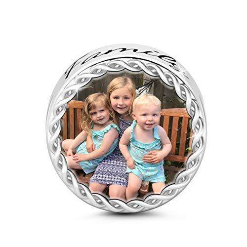 GNOCE Foto Personalizada Encanto Personalizado Árbol de la Familia Foto de Encanto con Cristal Multicolor S925 Charm Fit Pulsera y Collar Regalo Memorable