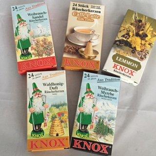 5er Set Knox Räucherkerzen (A): Weihrauch-Sandelholz, Caffe Latte, Lemmon, Waldhonig, Weihrauch-Myrrhe