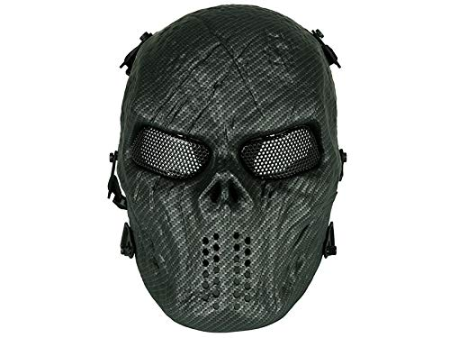 Máscara táctica para Airsoft con Ojos de Malla, máscara Protectora de Calavera, protección Militar, Paintball, Disfraz de Halloween (Fibra de Carbono) HTUK®