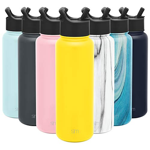 Simple Modern SM-S-40-SY 40 oz Summit Water Bottle with Straw Lid-Gifts for Men & Women Hydro Vacuum Insulated Tumbler Flask Double Wall Liter-18/8 Stainless Steel, Sunshine