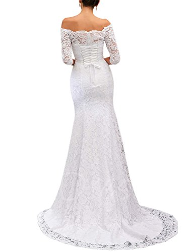 OYISHA Women's Off The Shoulder Lace Wedding Dress with Sleeve Long Mermaid Bridal Gowns 14 White