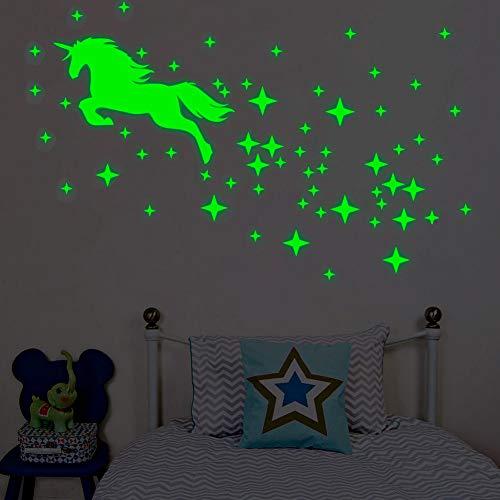 Leuchtsticker im Dunkeln Leuchten Einhorn Wandtattoos Leuchtende Stern Punkt Aufkleber Fluoreszierende Leuchtende Wand Decke Abziehbilder
