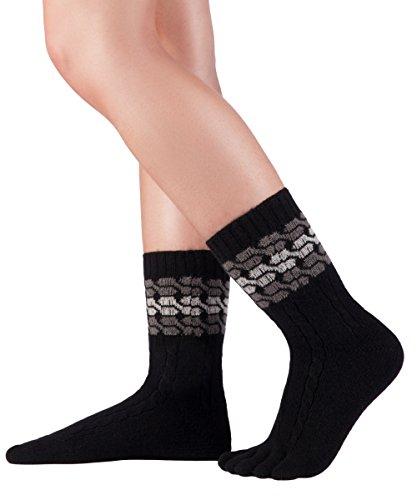 Knitido Zehensocken Merino Cashmere Meander, nahtlose Wollsocken, ohne Gummiband, Größe:39-42, Farbe:schwarz/grau (101)