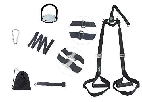 Fita Suspensão TRX + Extensor + Ancorador de Porta + Bag + Suporte de parede - Faixa de Resistência - Fita de Treinamento Suspenso - Elástico para Exercícios - Tamanho Ajustável e Fácil de Ancorar - Treinamento Funcional - Peso do Corpo