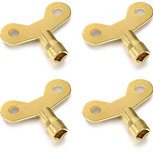 4 Stücke Kühler Schlüssel Massiver Messing Kühler Entlüftungsschlüssel Entlüften Luft Ventil Schlüssel Uhrentyp Klempner Ventil Schlüssel für Heizkörper und Wasserhähne