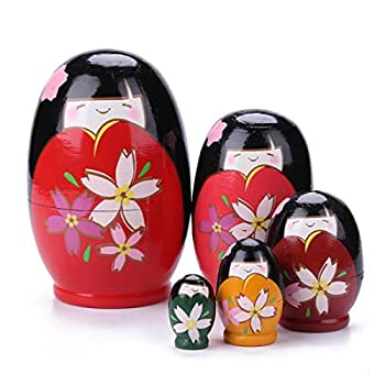 Konrisa Russian Matryoshka Nesting Dolls Japanese Girls Handmade Stacking Toys Wooden Figurine Early Education Toys for Girls Toddlers Wedding Gift Home Decoration Party Supplies,Set of 5 Pieces