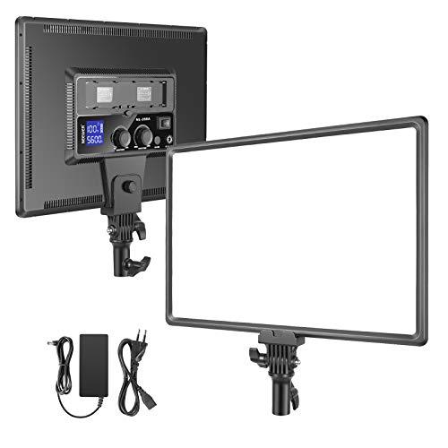 Neewer Super Fino LED Video Luz Iluminación Suave 40W 3200K-5600K CRI95 + Panel LED Regulable con Pantalla LCD Cámara Luz Fotográfica Compatible con Batería Sony NP-F Series (Batería No Incluida)