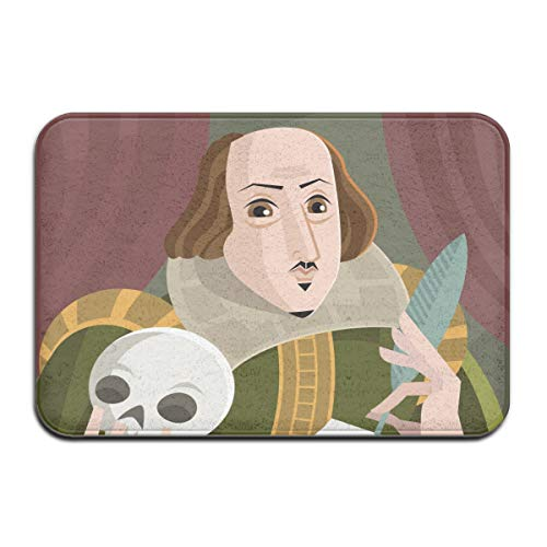 "others Universal Anti SlipDoor Mat – Size 16"" X 24"",Entrance Outdoor & Indoor Welcome Mat,Rectangular Anti Slip Doormat Shakespeare English Best Writer Cartoon Classical Famous Feather Flat-01"
