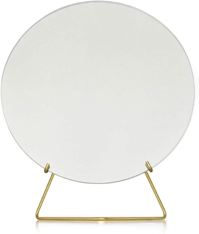 Desktop Mirror,Nordic Mirror Makeup Mirror Desktop Household Dorm Room Princess Mirror Dressing Mirror Tabletop Makeup Mirror (color   gold)