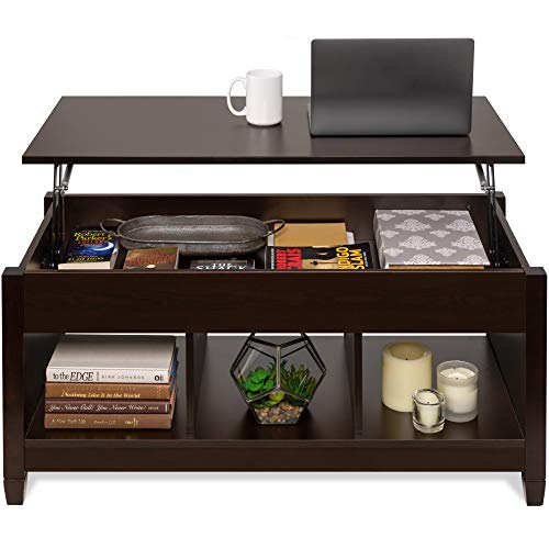 Best Choice Products Wooden Lift Top Coffee Table, Multifunctional Accent Furniture for Living Room, Décor w/Hidden Storage, Display Shelves - Espresso