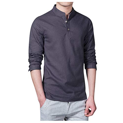 Yowablo Hemd Hawaiihemd Herren Kurzarm Oberhemd Bluse Tops Männer Ethnischer Stil Einfarbige Baumwolle Slim Langarm (5XL,1Dunkelgrau)