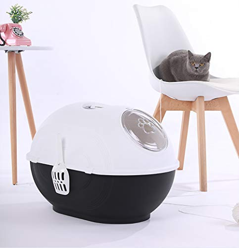 Caja de Arena para Gato Todo Cerrado Creativo Encantador Aseo Gatitos Antiolor Ecológico Abertura Frontal Fácil de Limpiar WC Inodoro,Black