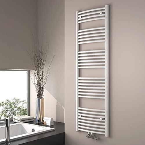 EMKE Heizkörper Gebogen Handtuchtrockner 1600 x 500 mm für Warmwasser BadHeizkörper Mittelanschluss oder Seitenanschluss Handtuchwärmer (Weiß)