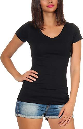 Jela London Damen Longshirt T-Shirt lang Stretch V-Ausschnitt Kurzarm einfarbig sexy eng-anliegend, Schwarz 40 (XL)