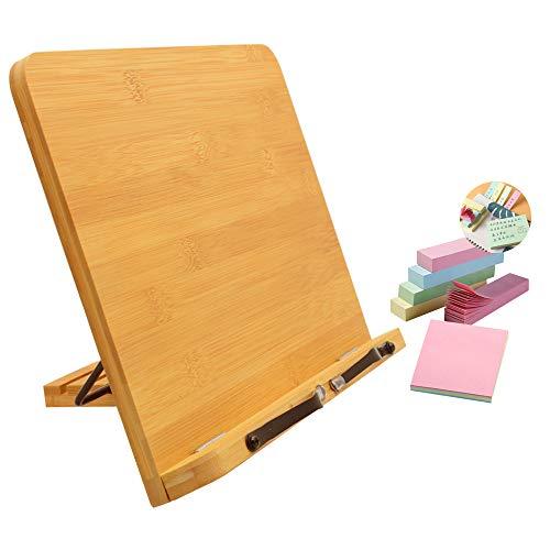 SITAKE Supporto per libri Regolabile da lettura in Bambù - 39*28 cm, con 500 Fogli di Foglietti Adesivi Colorati, Libri daLettura Pieghevole e Portatile per Libri Cucina, Libri Testo, Ricette