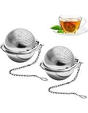 Cabilock 2 stycken tesil för kopp rostfritt stål återanvändbara tefilter te gjuten med handtag te ägg liten hushållssilj kaffe filter med kedjor krokar för lösa teblad silver