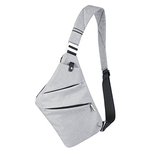 Jeerui Sling Bag Crossbody Beiläufige Segeltuch Umhängetasche Outdoor Sports Preferred Freizeit Diebstahlsicherung Multifunktion Rucksack Zwei Farben (grau)