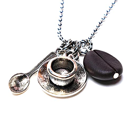 Coffee Bean Necklace with Spoon and Cup Charms