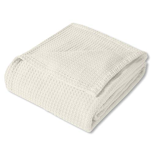 Best Price! Sweet Home Collection 100% Fine Cotton Luxurious Basket Weave Blanket, Ivory