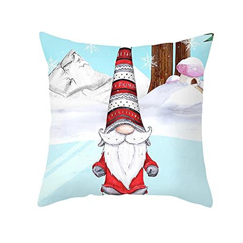 Funda de cojín de Navidad, funda de almohada con mensaje 'Frohe Weihnachten', decorativa, de invierno, enanos, alce y Papá Noel, con estampado de Papá Noel, color rojo