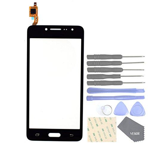 VEKIR Repuestos de teléfonos celulares para Samsung Galaxy J2 Prime Grand Prime Plus G532F G532M G532G Panel de Vidrio de Pantalla táctil(Black)