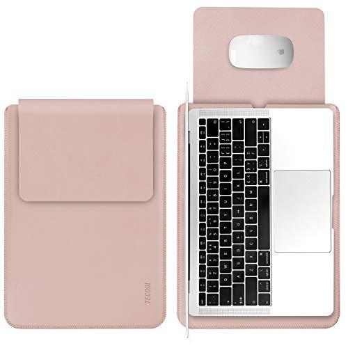 TECOOL Laptop Hülle 13,3 Zoll Tasche, Wasserdicht Laptop Sleeve Kunstleder Schutzhülle Hülle für MacBook Air 13/MacBook Pro 13, Microsoft Surface Laptop 1 2 3, MateBook D 14, Dell XPS 13 - Rosa