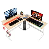 "Bestier L-Shaped Gaming Desk iclude RGB Lighting Mouse Pad RGB Strip Light 55.2"" Home Office Computer Desk Large Ergonomic Monitor Shelf Modern Corner PC Laptop Desk Study Table (WIT, BLK)"