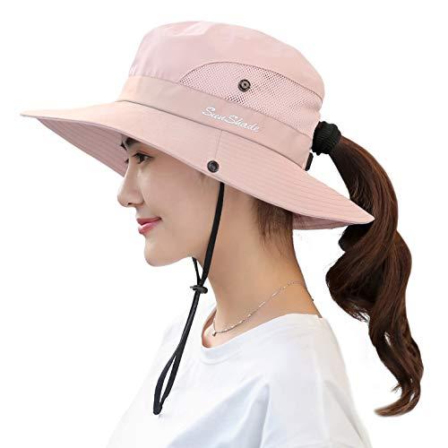 HGGE Sombrero de Sol para Mujer, Plegable, con Agujero para Cola de Caballo, Color Rosa