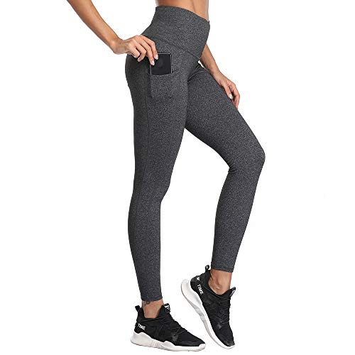 SIMIYA Damen Leggings, Lang Frauen Sporthose, Stretch und Hohe Taille 3/4 Hose, 1 Pack(Grau, L)