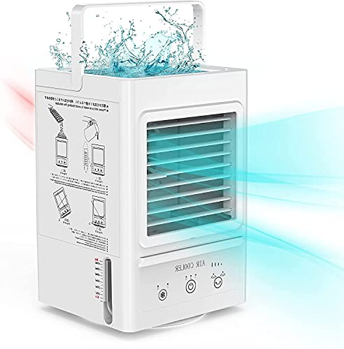 Portable Air Cooler, Rechargeable Battery Operated Evaporative Air Cooler, Auto Oscillation 700ml Water Tank, Perfect for Home Bedroom Office Outdoor