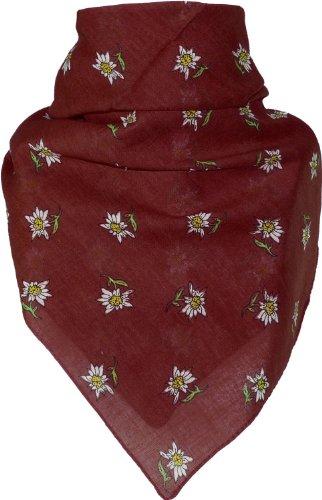 Harrys-Collection Bandana mit Edelweiss in 15 Farben aus Baumwolle, Farben:bordeaux, Größen:Einheitsgröße
