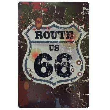 Ruta 66 Decoración Pared | Placa Decorativa Vintage Route | Cartel Chapa Póster (Bullet Shooting, 20 x 30 cm)