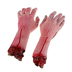 Material: Environmental Rubber & PP Cotton. Color: Bloody red & skin color. Package List: 2 X Halloween Severed Arms The severed arm is fit for your Halloween party decor or scary yard prop. It provide you a good choice to play joke with your friends...