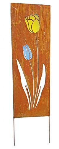 Fachhandel Plus Gartenschild Metall eckig Rostoptik Blumenmotiv Dekostele Gartenstecker Auswahl,...