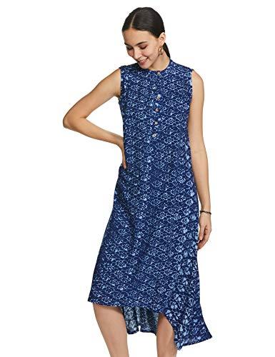 Indigo Women's Rayon a-line midi Dress (AW20/IND-1477_Mustard_M)