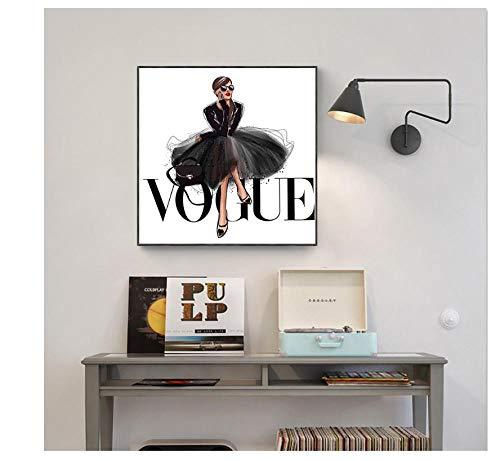 zhaoyangeng 1 Stück Mode Figur Poster Und Drucke Vogue Wandkunst Malerei Auf Leinwand Bild Wohnkultur 50X50 cm Kein Rahmen