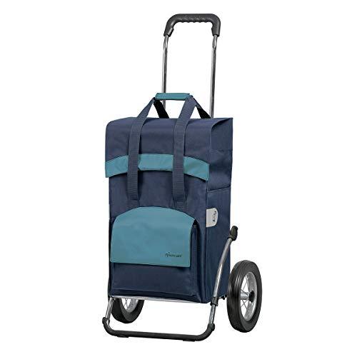 Andersen Einkaufstrolley Royal Stahlgestell klappbar mit Metallspeichenrad 25 cm und Einkaufstasche Holly schwarz/blau 49 Liter