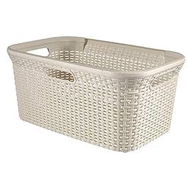 CURVER | Panier à linge 45L – Aspect rotin, Ivoire, Laundry Hampers & Baskets, 59,2x38x27 cm