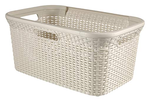 Curver Style Laundry Storage Basket, Vintage White, 45 Litre