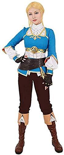 Mdcgok Disfraz de Cosplay de Princesa Salvaje para Mujer, Disfraz de Cosplay Informal de la Leyenda de Zelda, Disfraz de Cosplay Informal de Princesa Salvaje Zelda-l_Azul